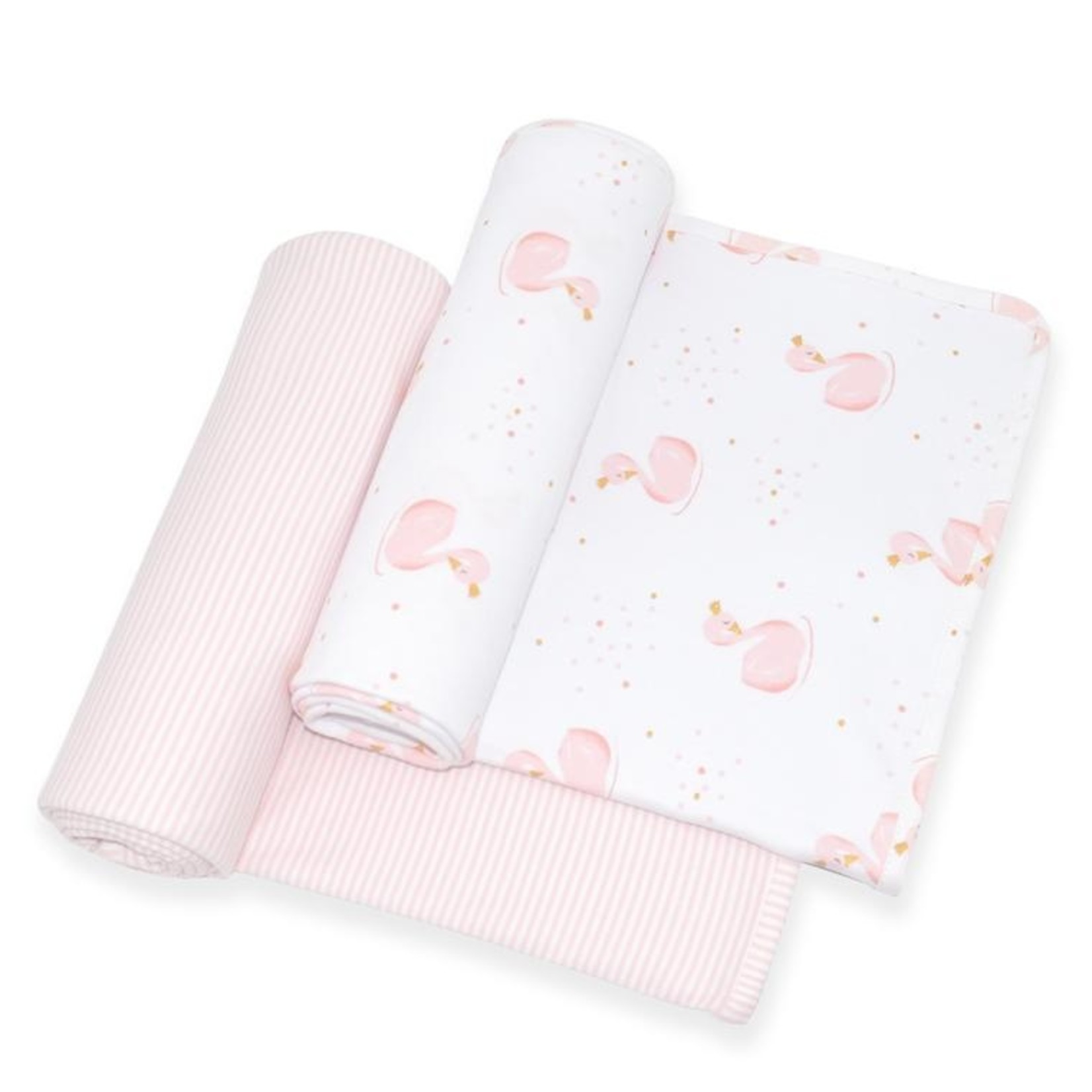 Living Textiles Living Textiles Jersey Wraps 2 Pack Swan/Pink Stripe