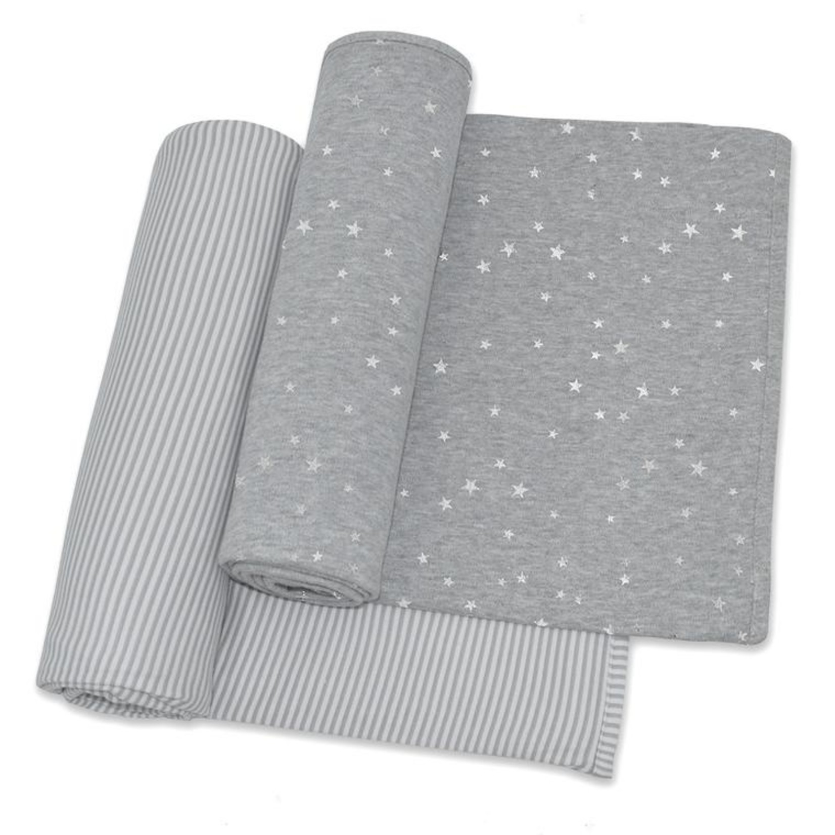 Living Textiles Living Textiles Jersey Wraps 2 Pack Silver Stars/Grey Stripe