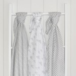 Living Textiles LIivng Textiles 3 Pack Muslin Swaddle Wraps - Misty Grey