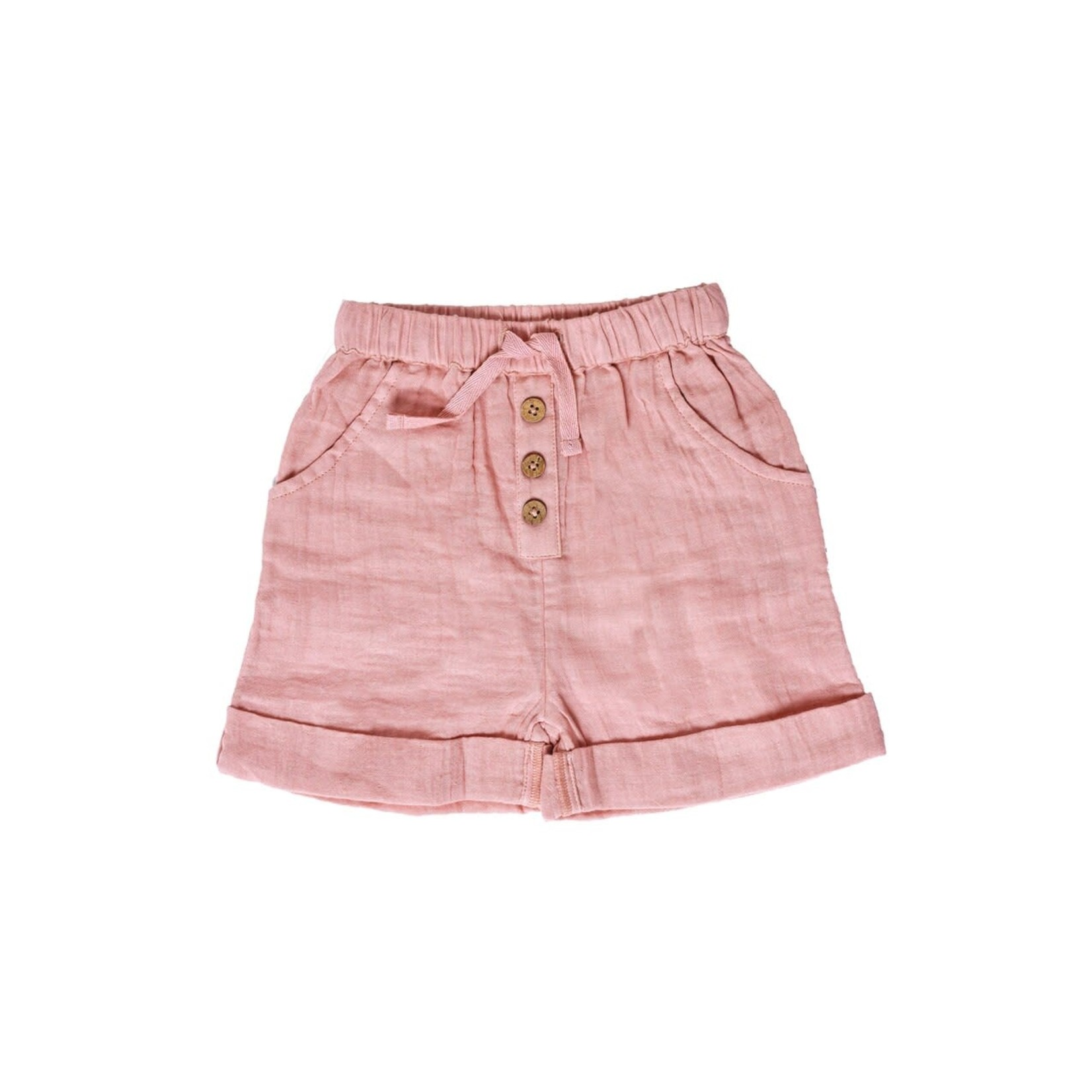Babu Organic Muslin Cuff Shorts - Blush
