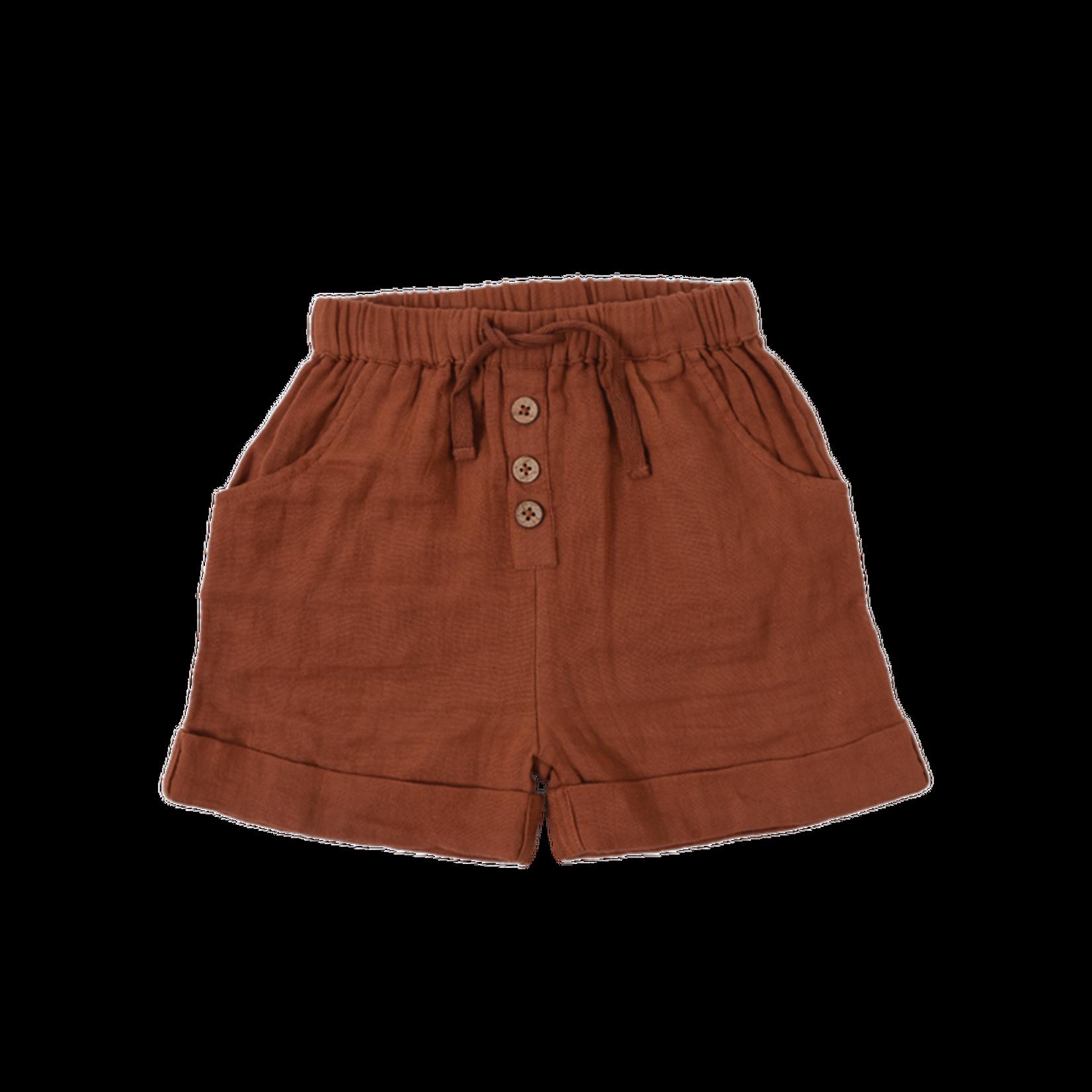 Babu Organic Muslin Cuff Shorts - Brick