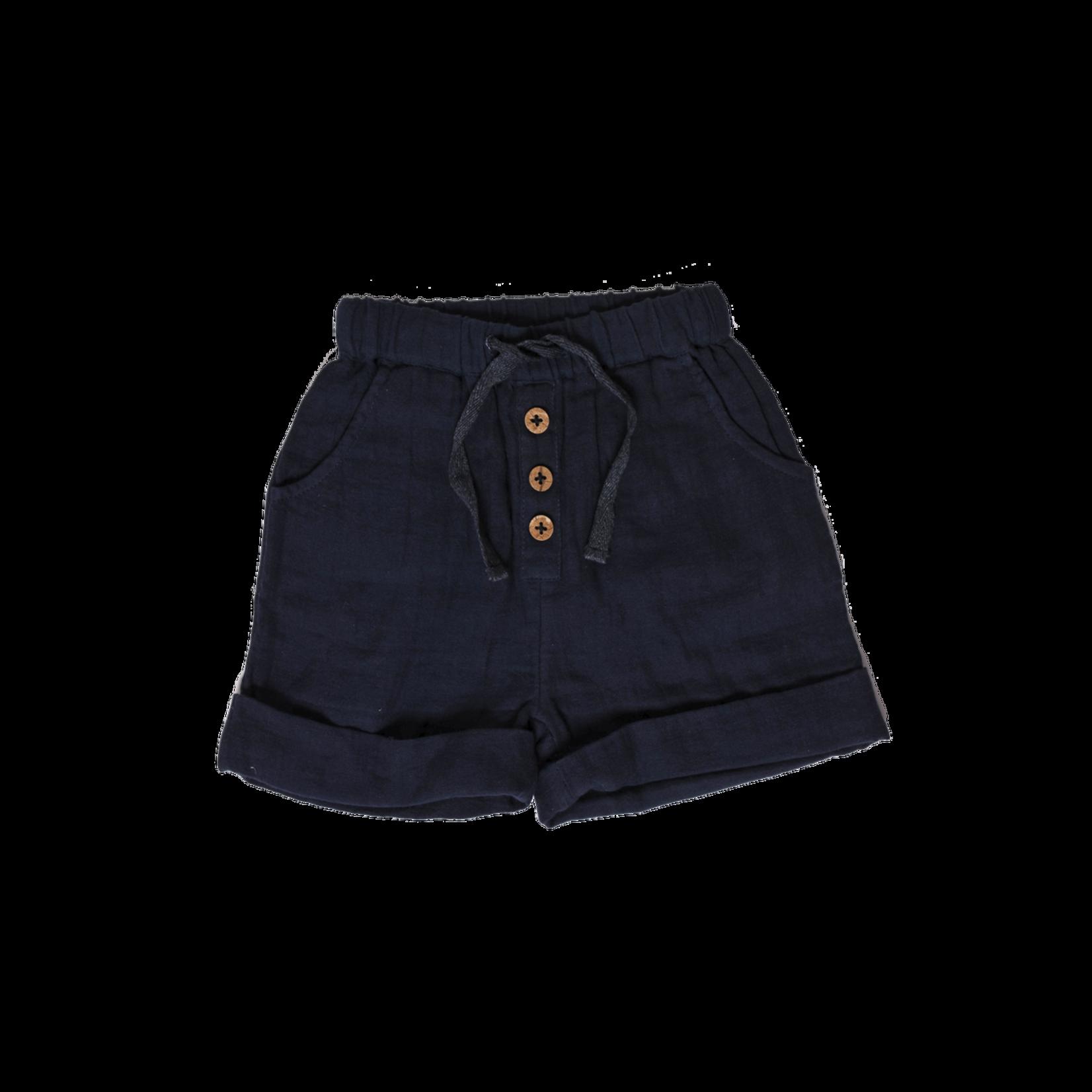 Babu Organic Muslin Cuff Shorts - Navy