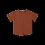 Babu Organic Muslin Grandpa Shirt- Brick