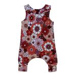 Mini Madz Mini Madz Knit Romper - Red/Pink Daisy