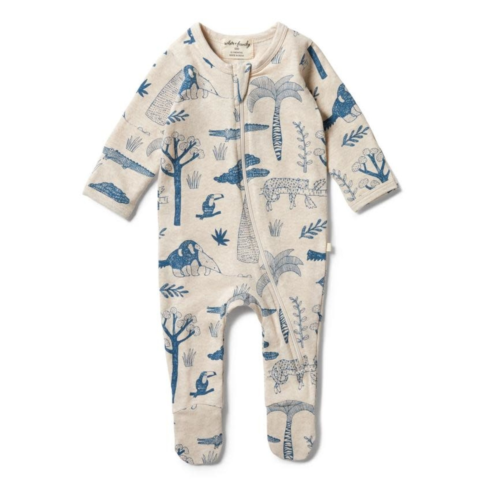 Wilson & Frenchy Wilson & Frenchy  Organic Zipsuit with Feet Jungle Mania
