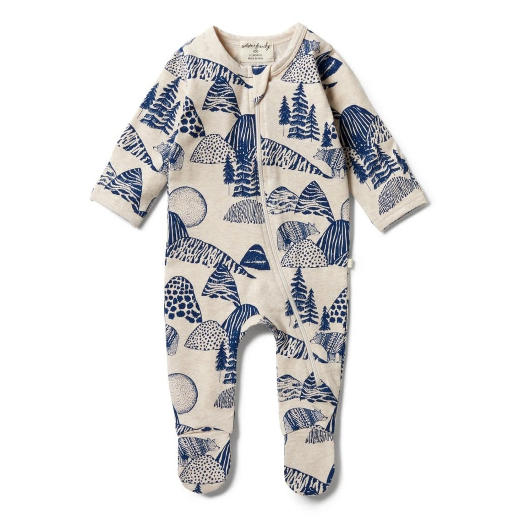 Wilson & Frenchy Wilson & Frenchy  Organic Zipsuit with Feet Little Mountains