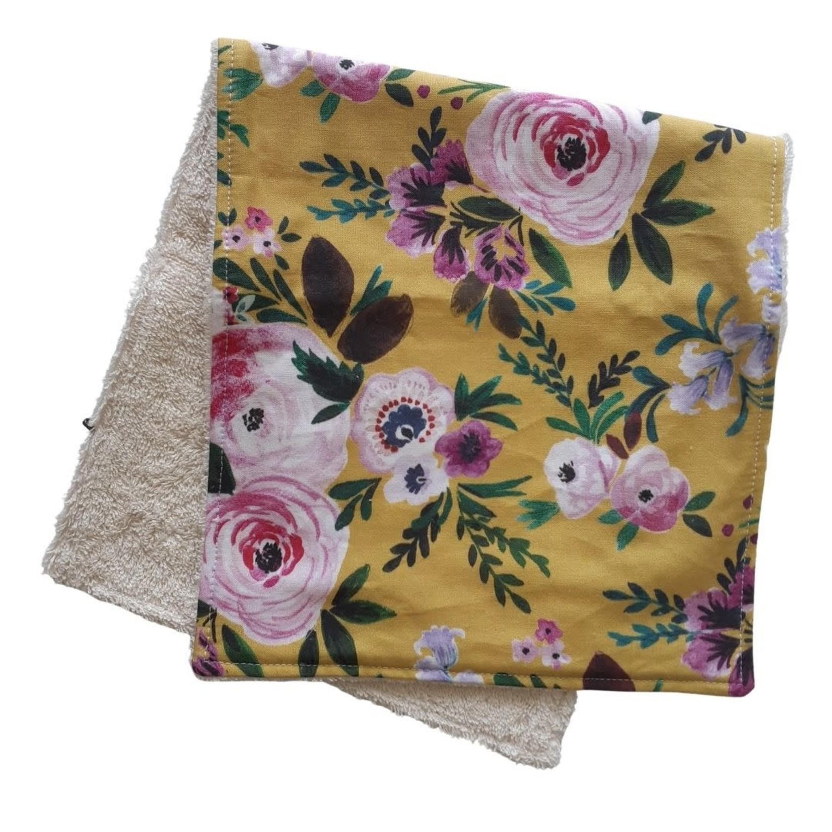 Mini Madz Mini Madz Organic Burp Cloths Mustard Floral