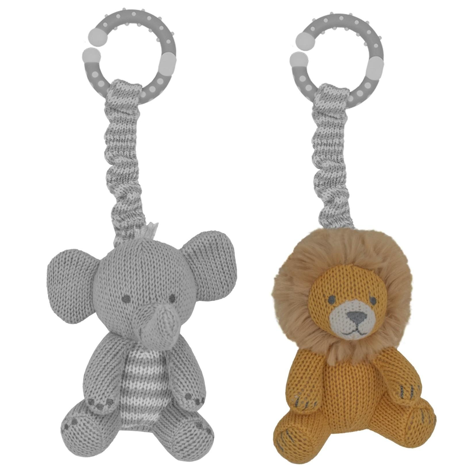 Lively Living Living Textiles 2pk Stroller Toy - Lion & Elephant