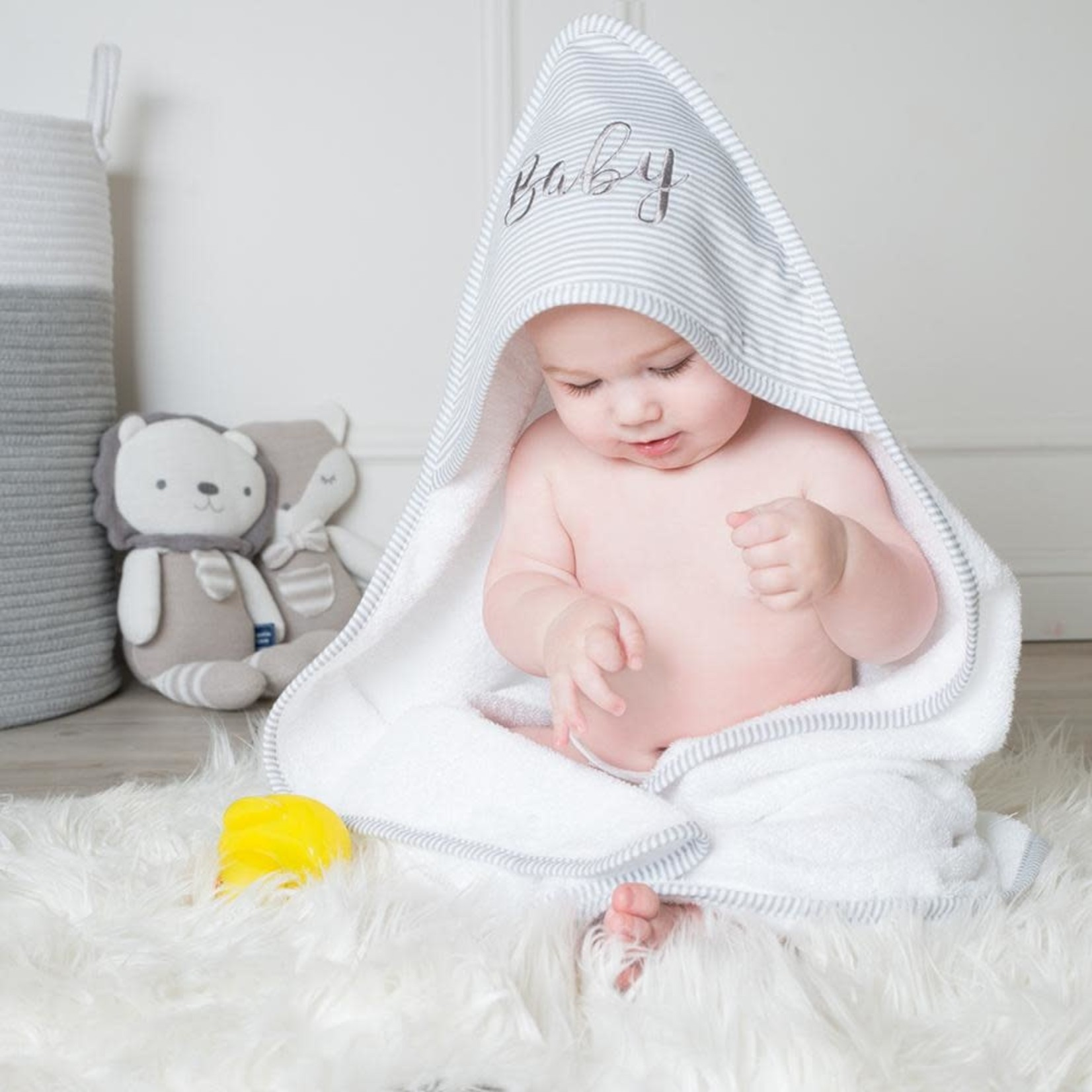 Lively Living Living Textiles Hooded Towel - Grey Stripe