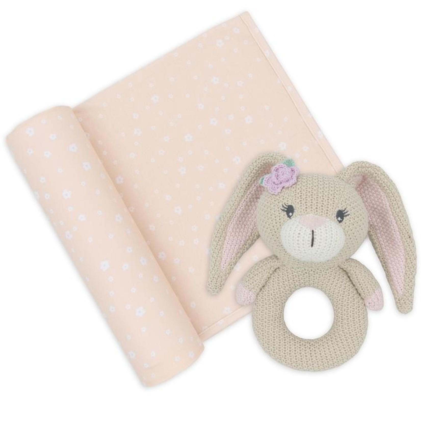 Living Textiles Living Textiles Jersey Swaddle & Rattle - Floral/Bunny
