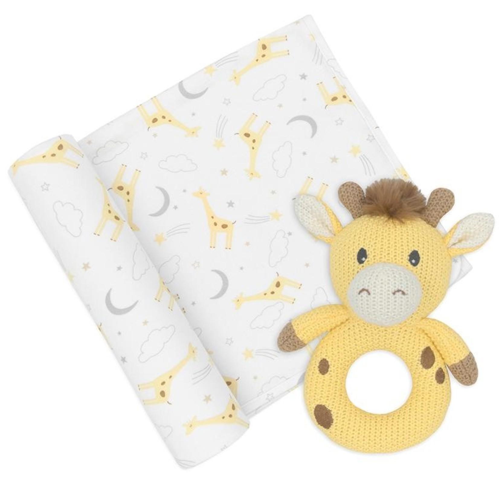 Living Textiles living Textiles Jersey Swaddle & Rattle - Noah/Giraffe