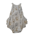 Penny's Pieces Penny's Pieces - Girls Deer Romper (Silver & Gold)