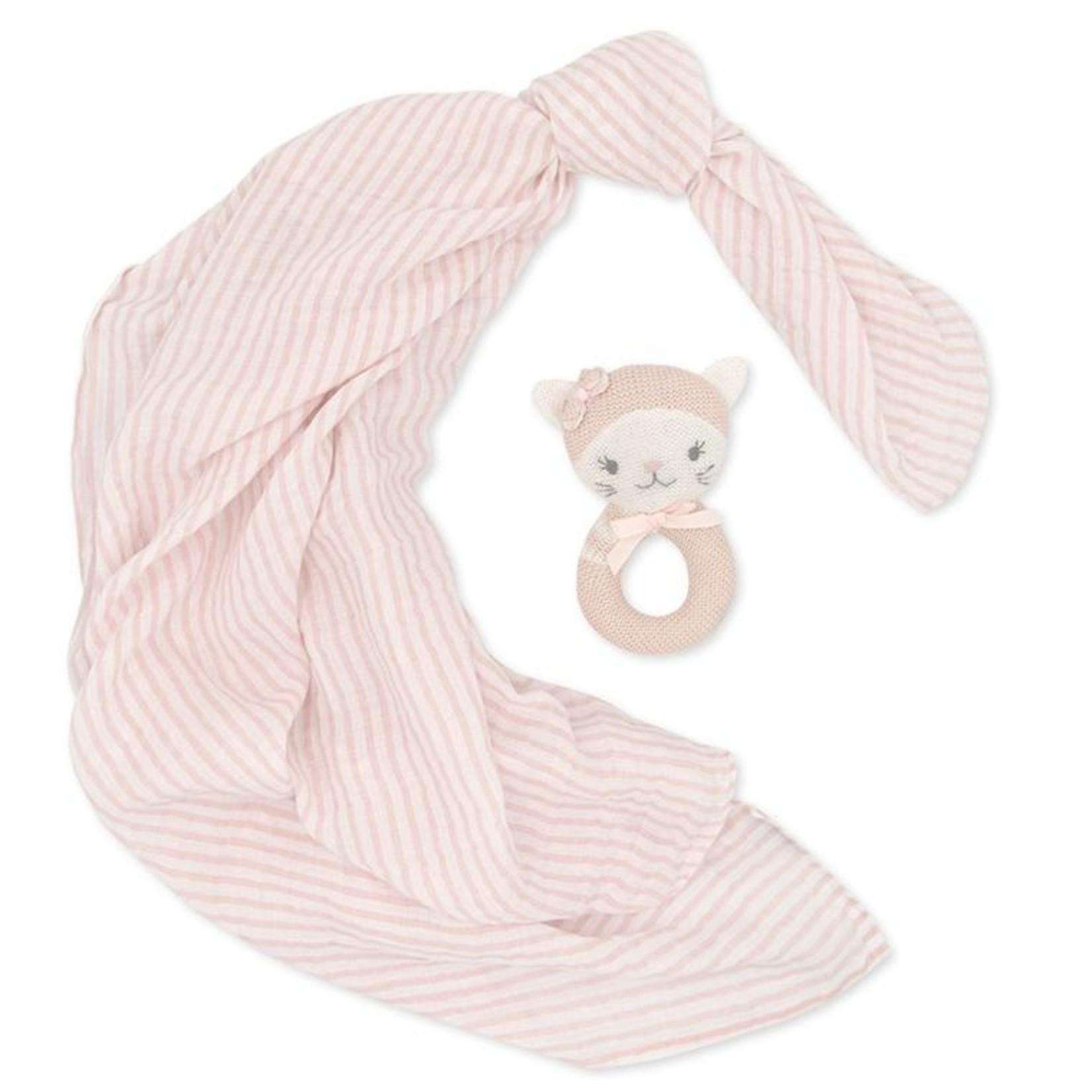 Living Textiles Living Textiles Muslin Swaddle & Rattle - Cat/Blush Stripe