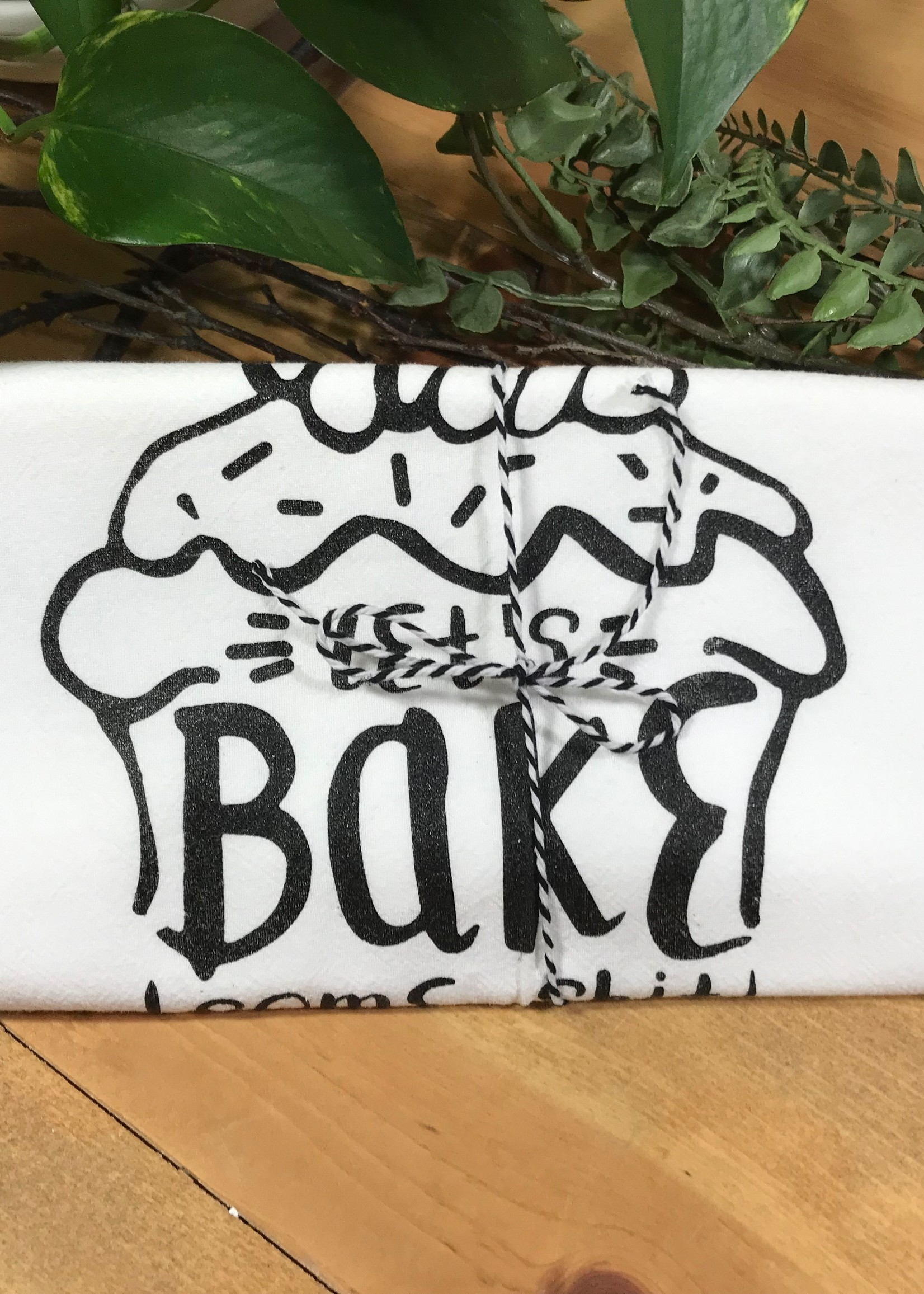 Screen Printed Dish Towel Let's Bake Some Shit