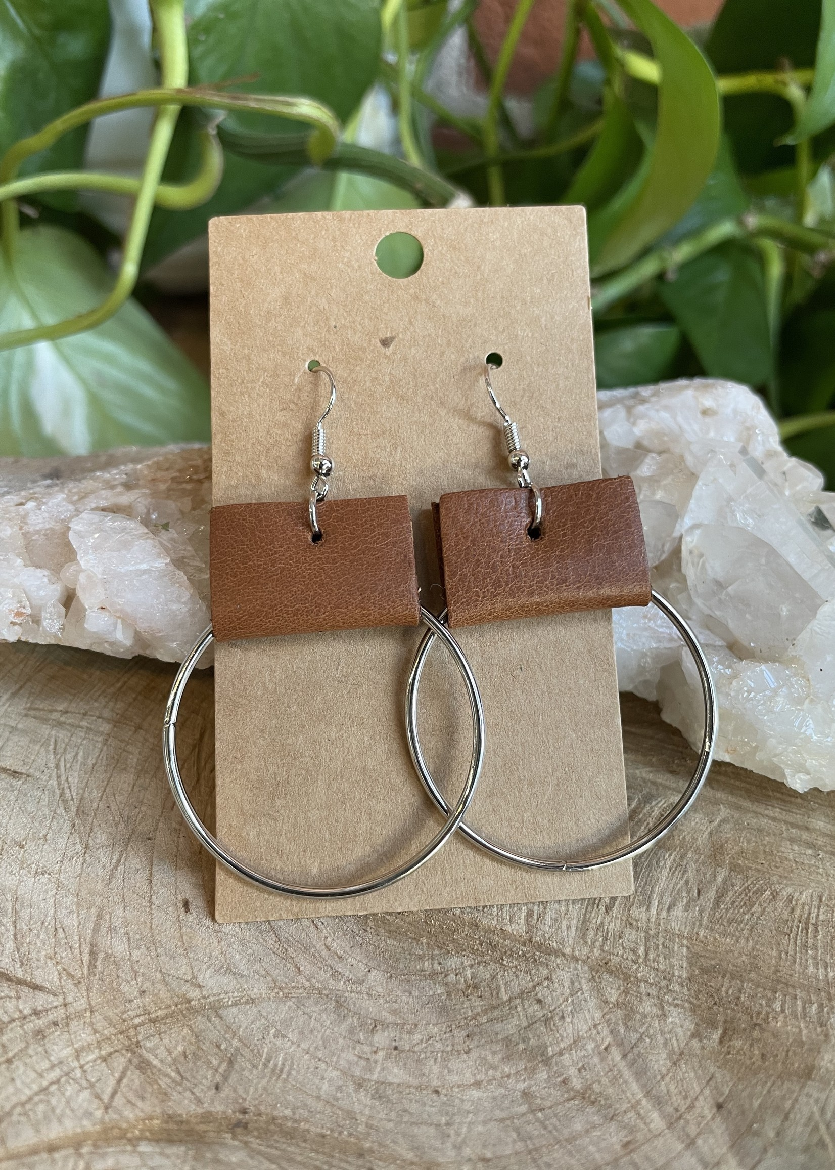 Leather/Circle earrings by Melissa Sue