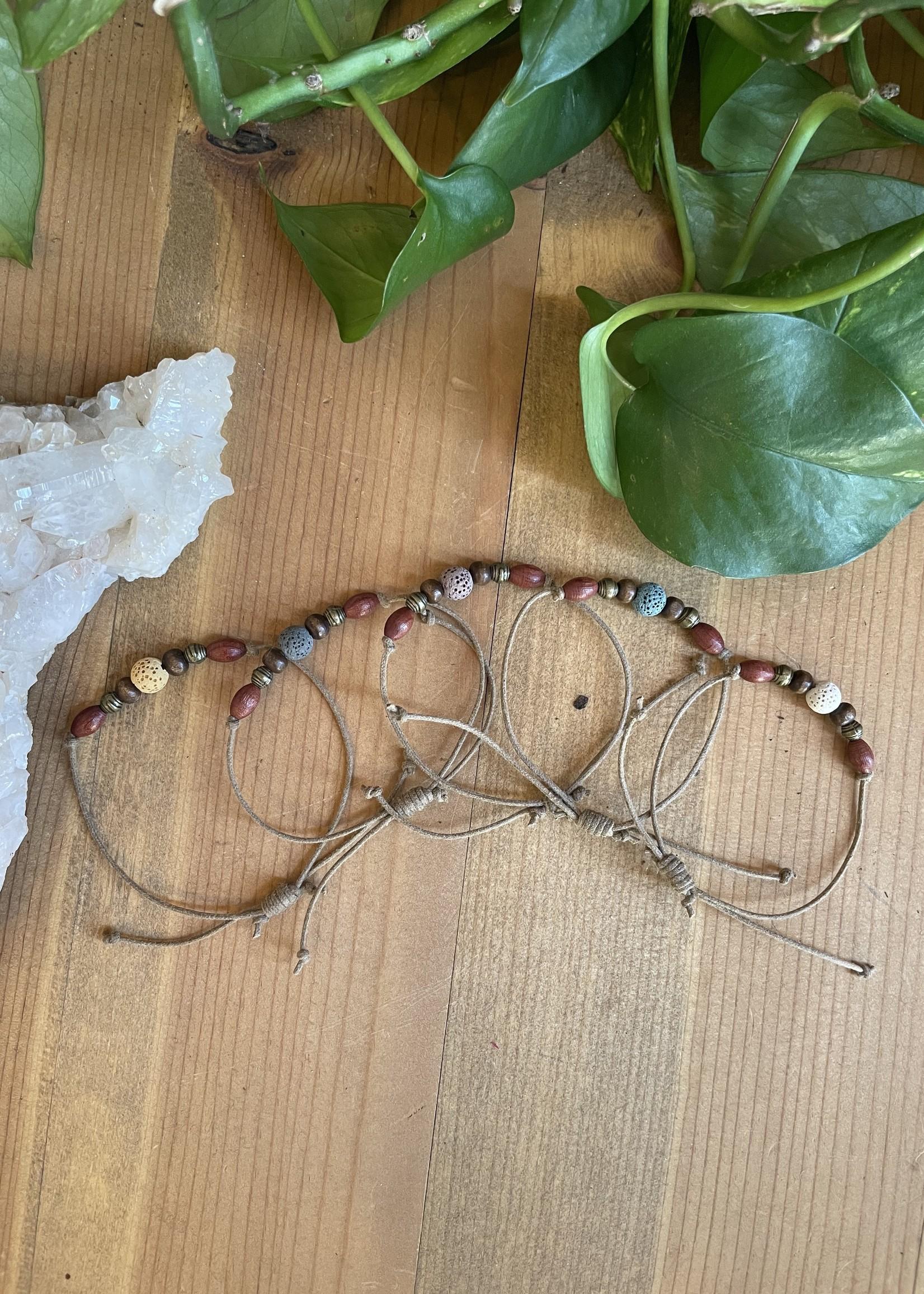 Adjustable Lava Stone Bracelet - Tan