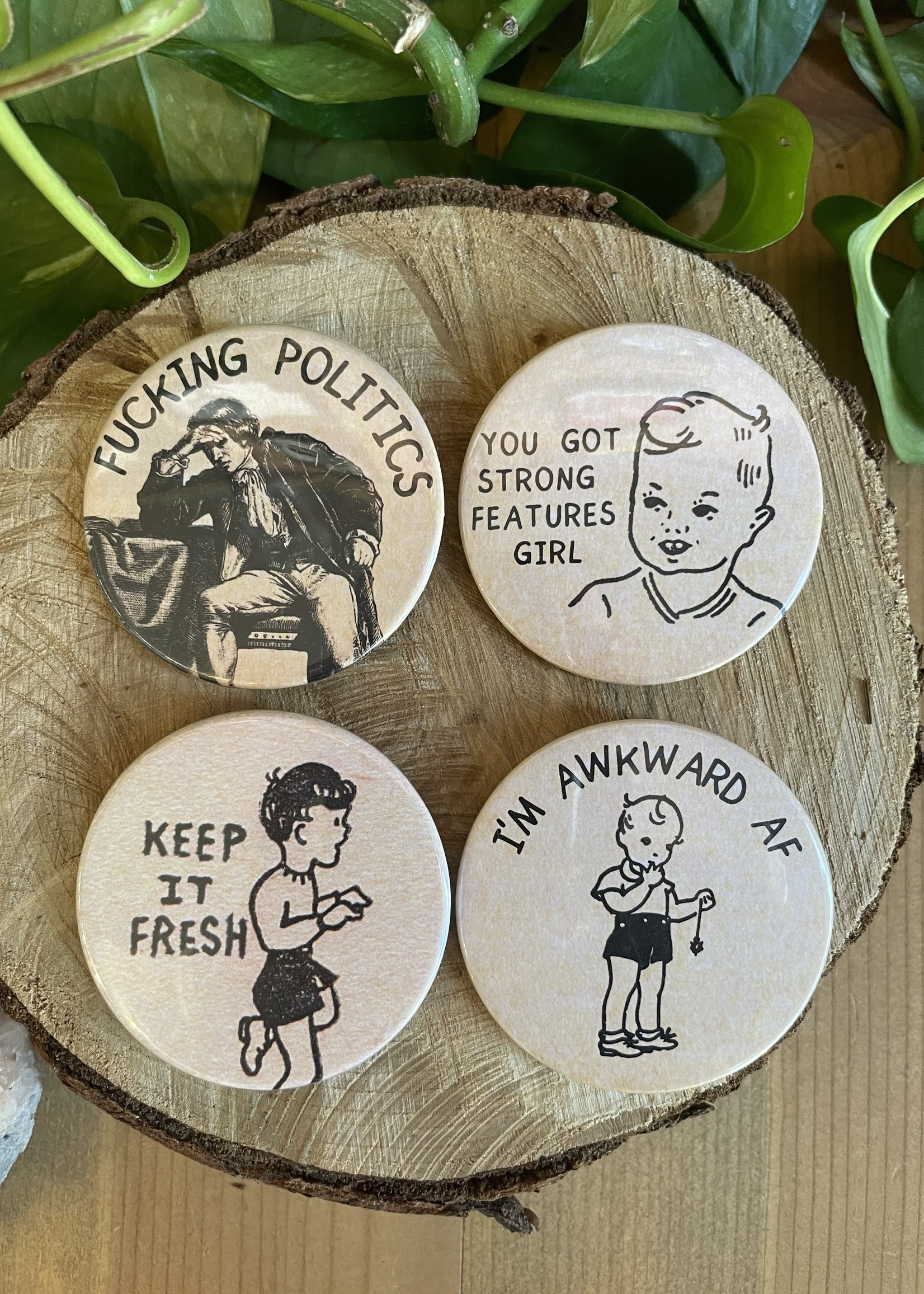 books to buttons - pins