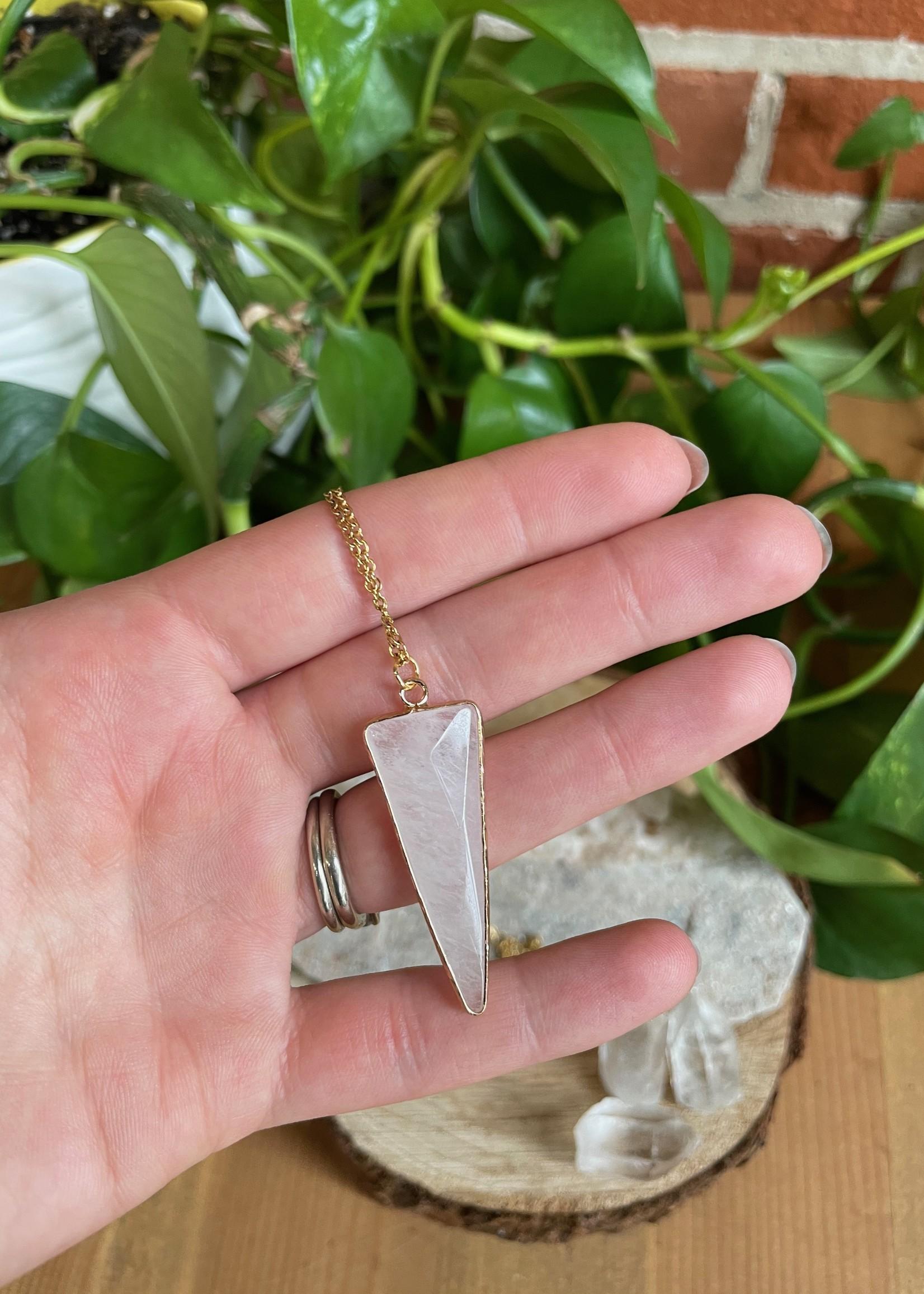 Large Quartz Triangle Necklace