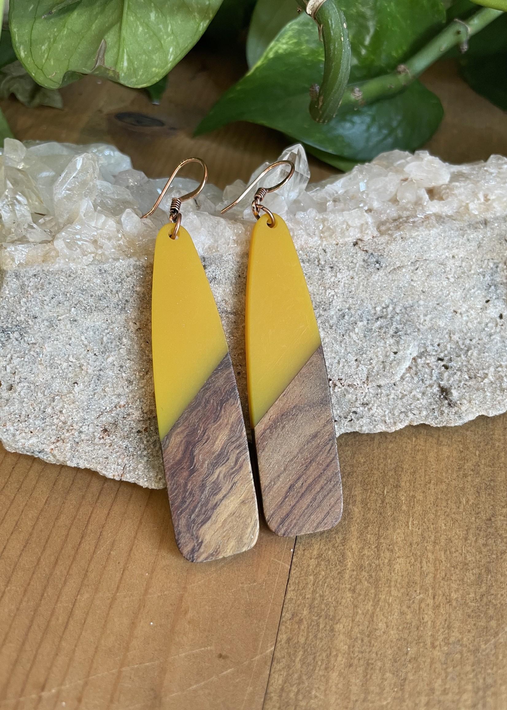 Wood & Resin Large Drop Earrings
