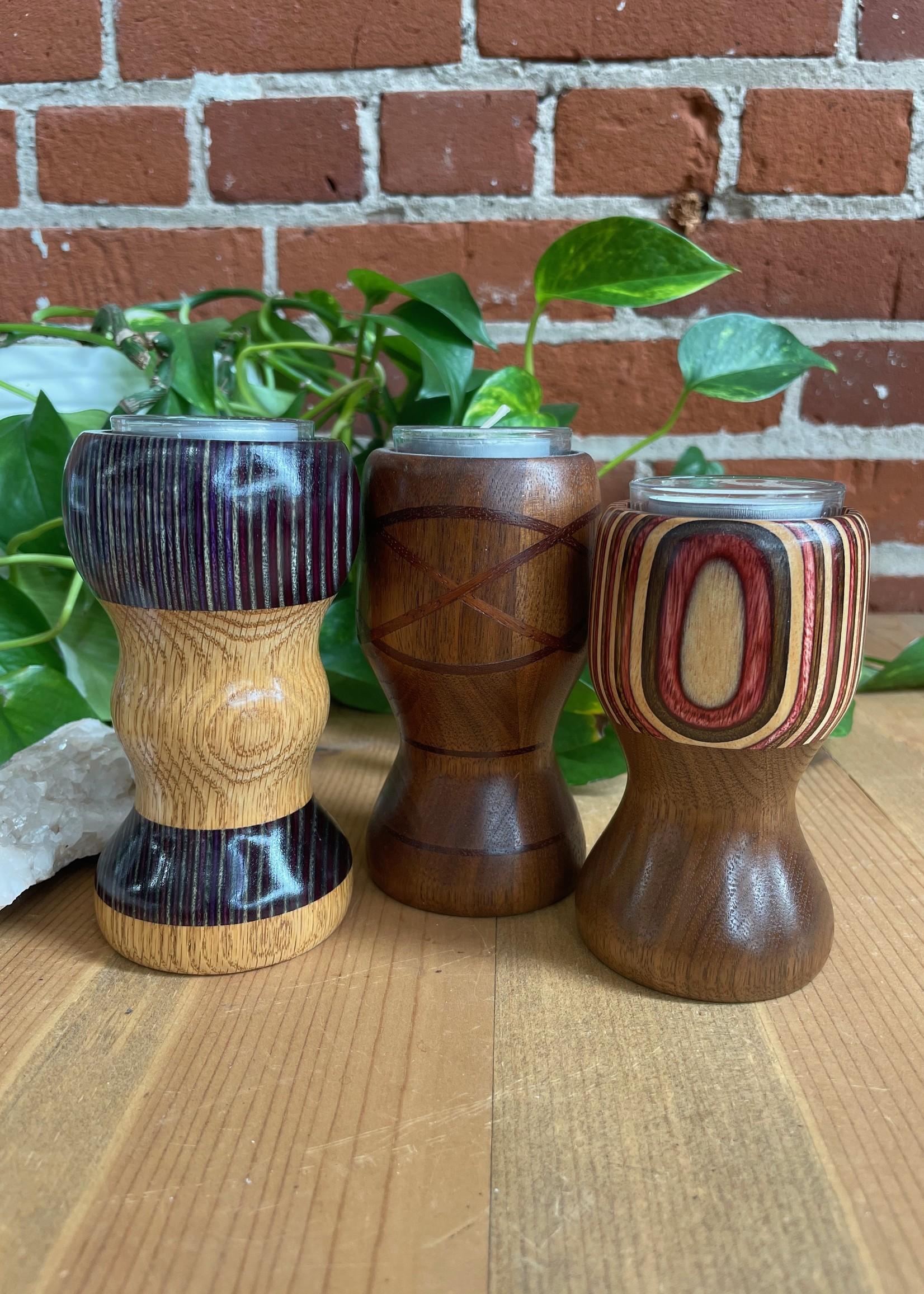 Plan B Artisans Wood Tea Light Candle Holder