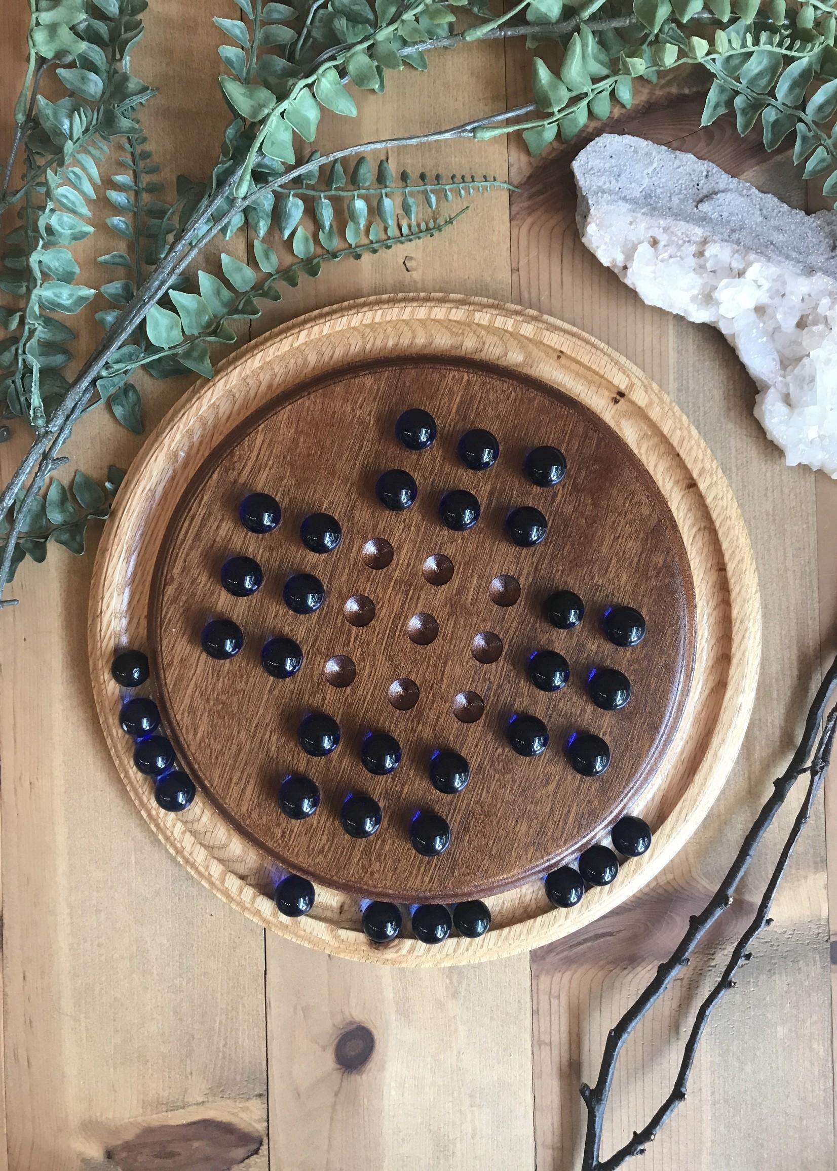 Plan B Artisans English Solitaire Wood Marble Game
