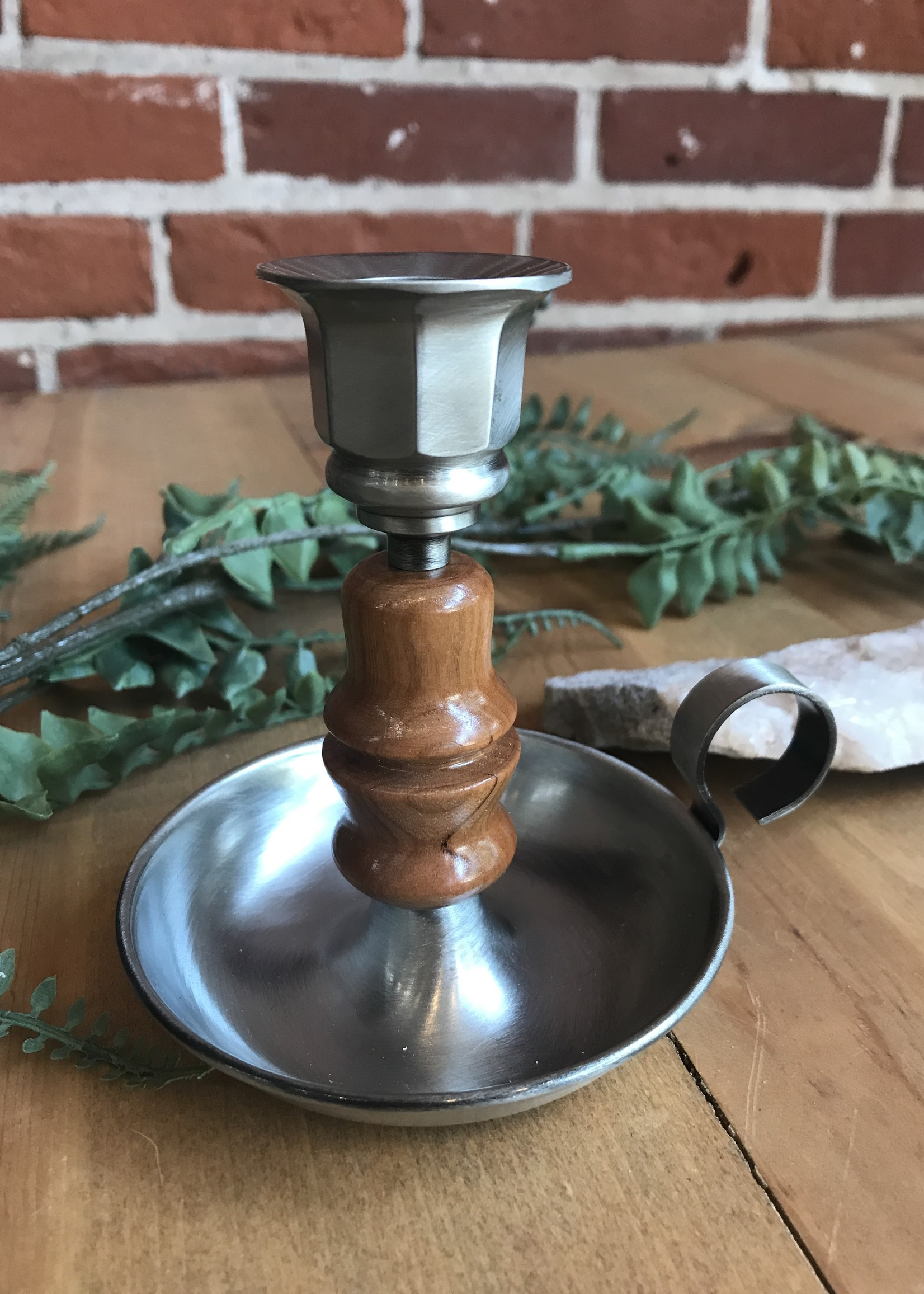 Plan B Artisans Wood and Metal Tapered Candle Holders