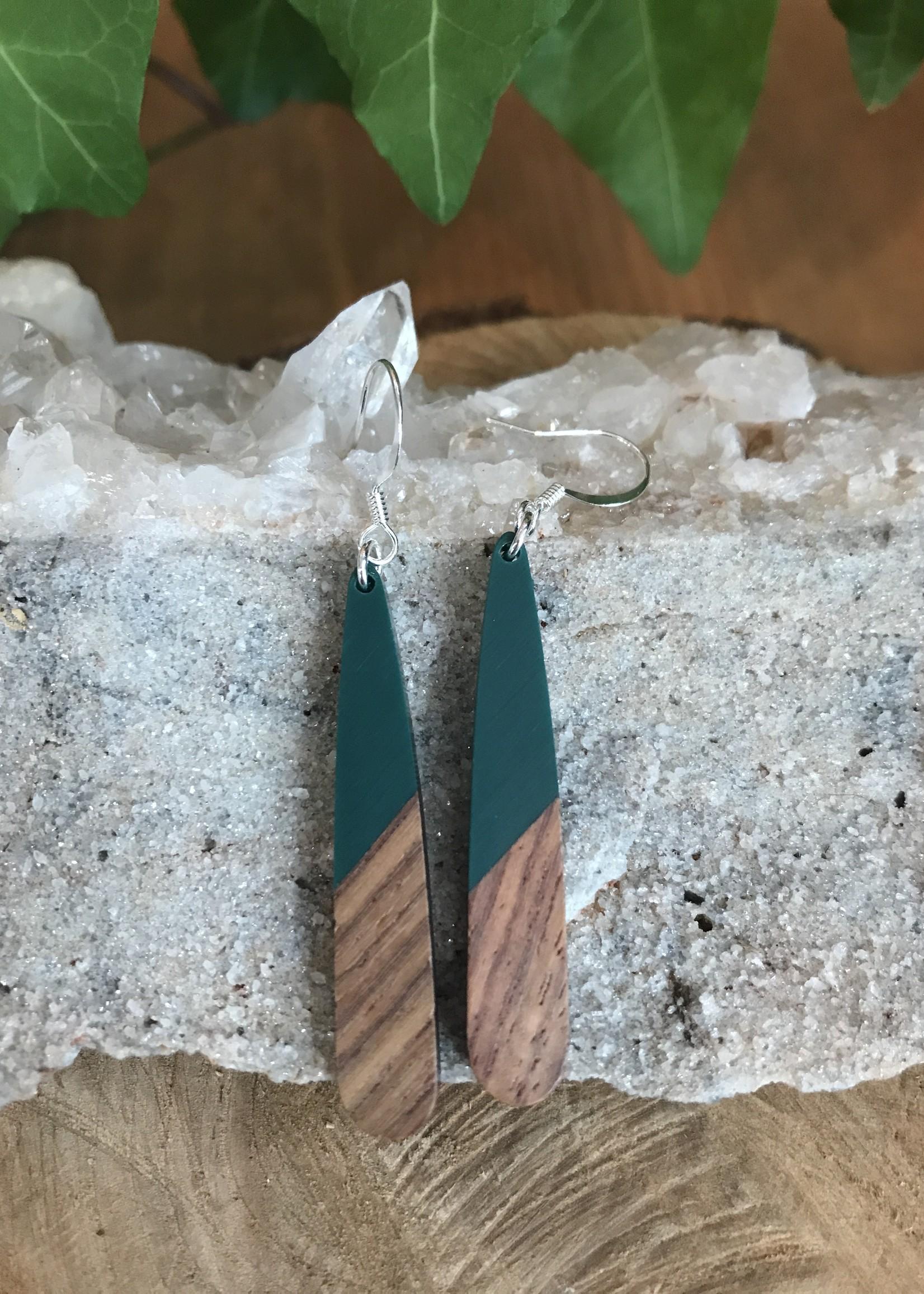 Wood & Resin Long Teardrop Earrings