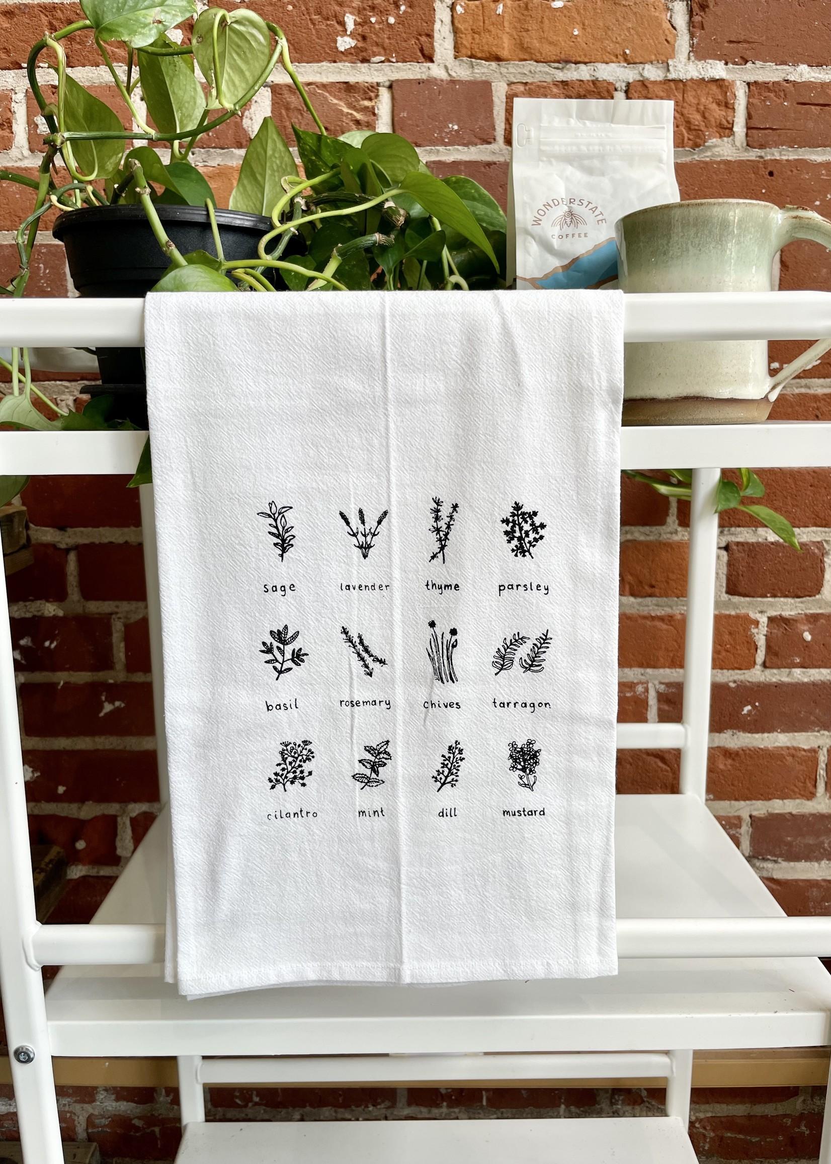 Screen Printed Dish Towel Herb Lover