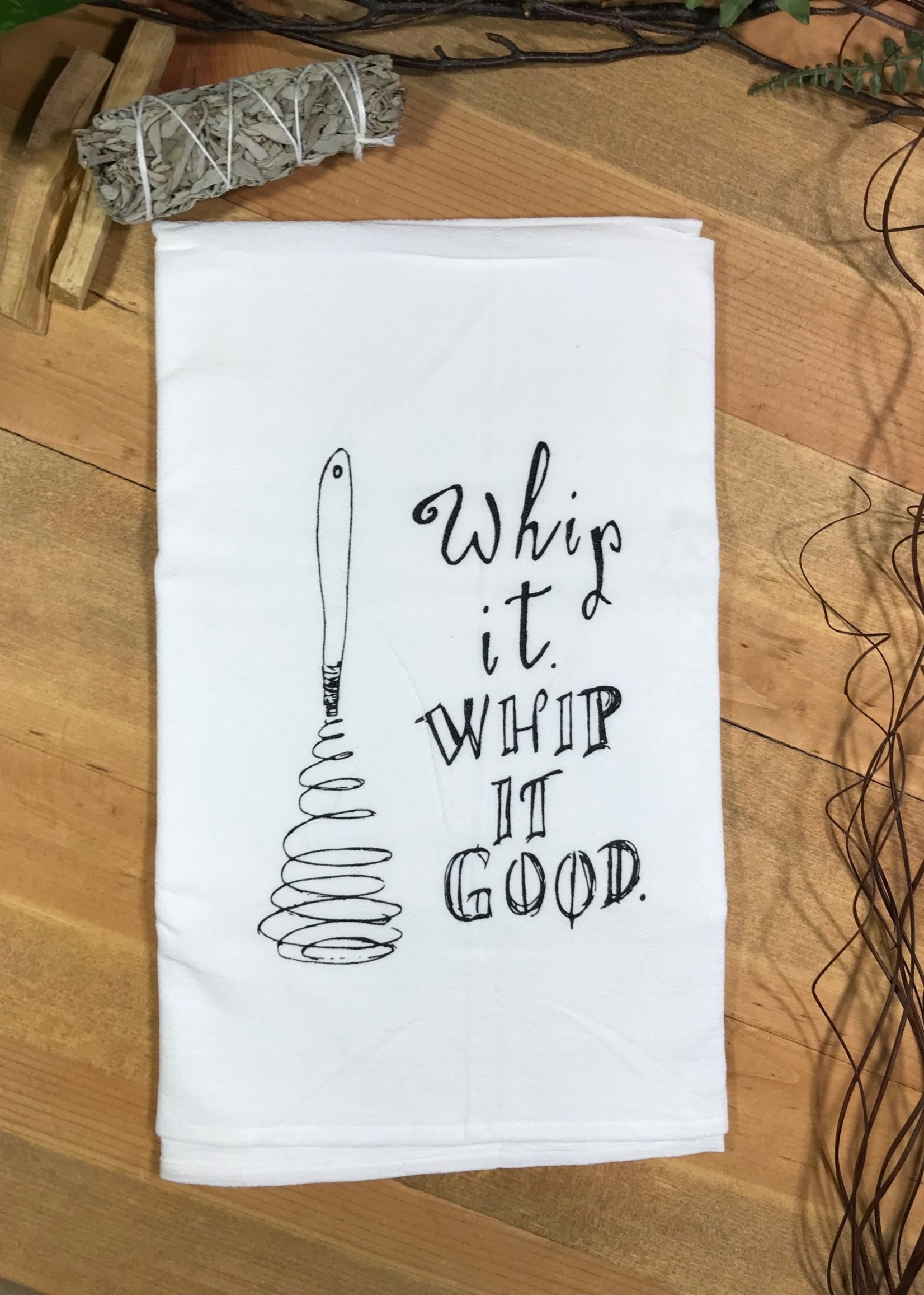 Screen Printed Dish Towel Whip It, Whip It Good