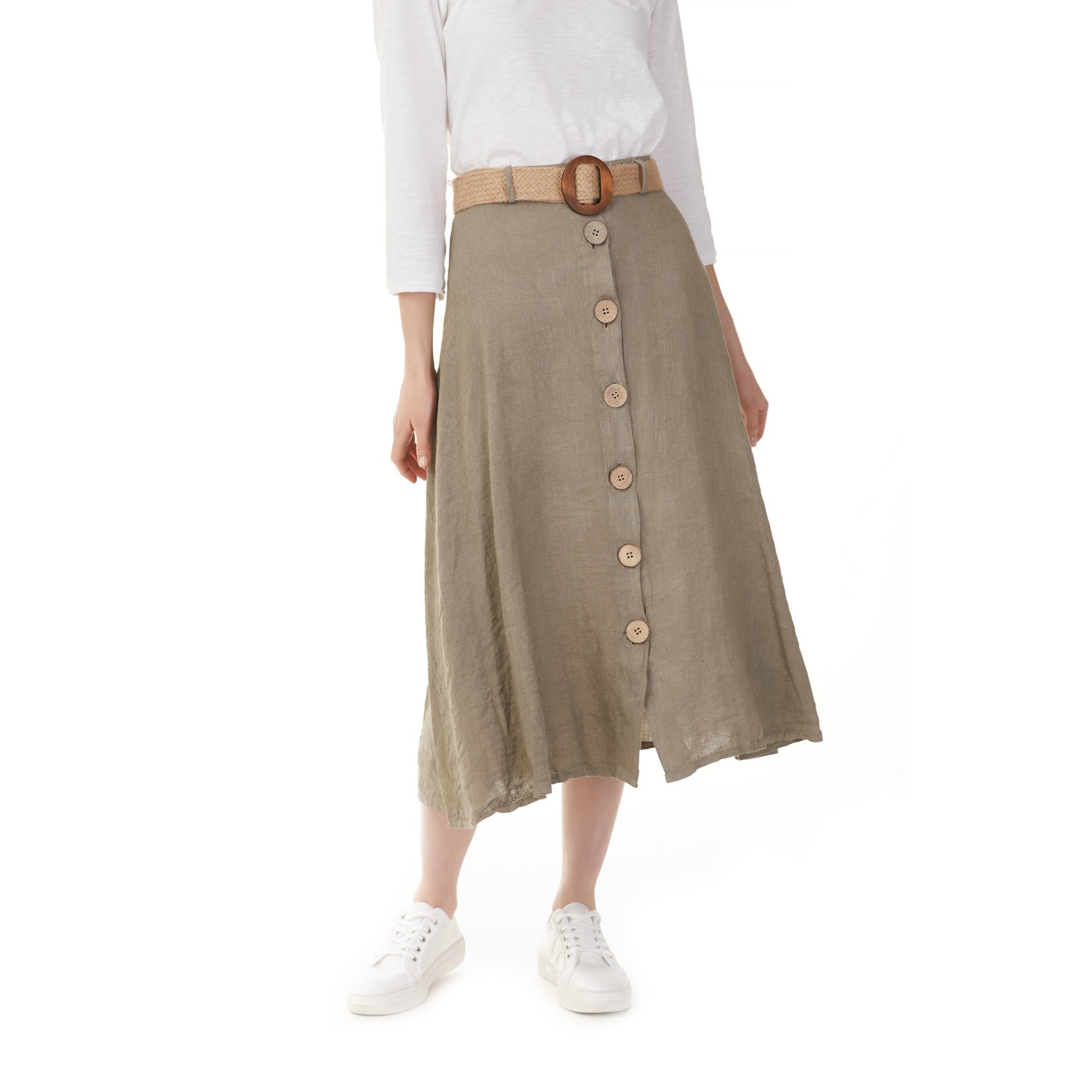 Charlie B Solid Linen Blend Skirt with Belt