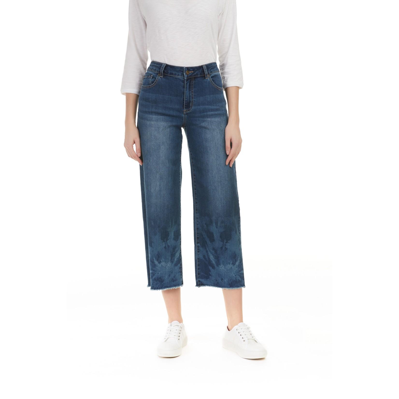 Charlie B Stretch Denim Wide Leg Cutoff Tie-Dye Jeans
