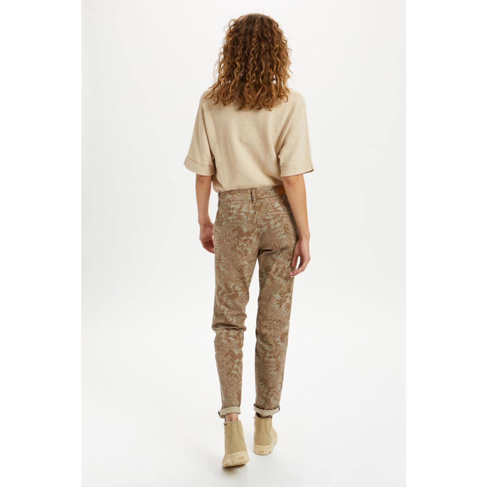 Cream Printed Chino Pant