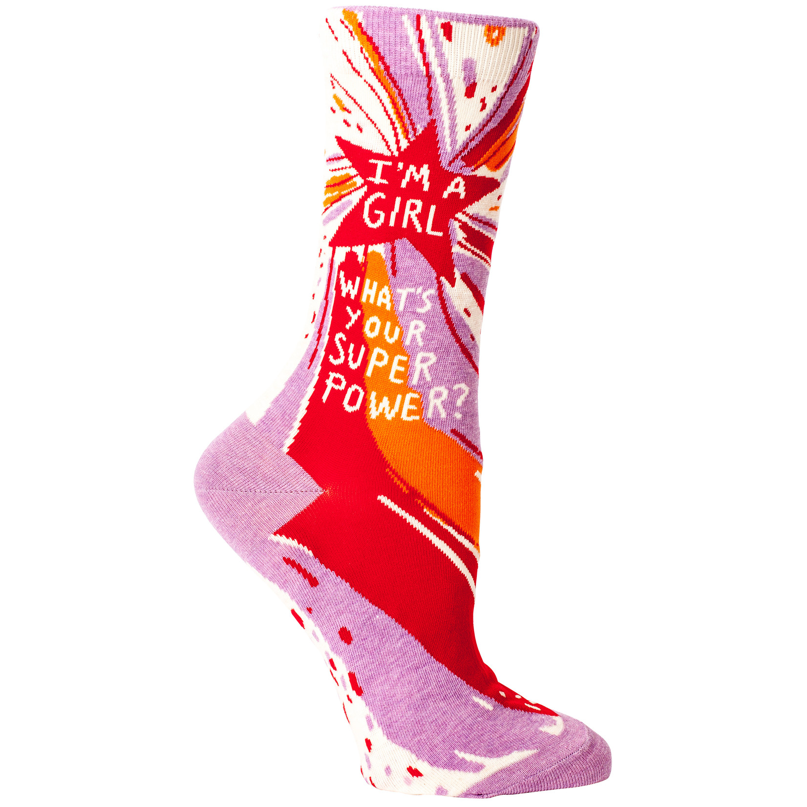 Blue Q I'm a Girl, What's Your Superpower?  W - Crew Socks