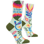Blue Q Stop Talking  W - Crew Socks