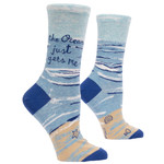 Blue Q Ocean Gets Me W - Crew Socks