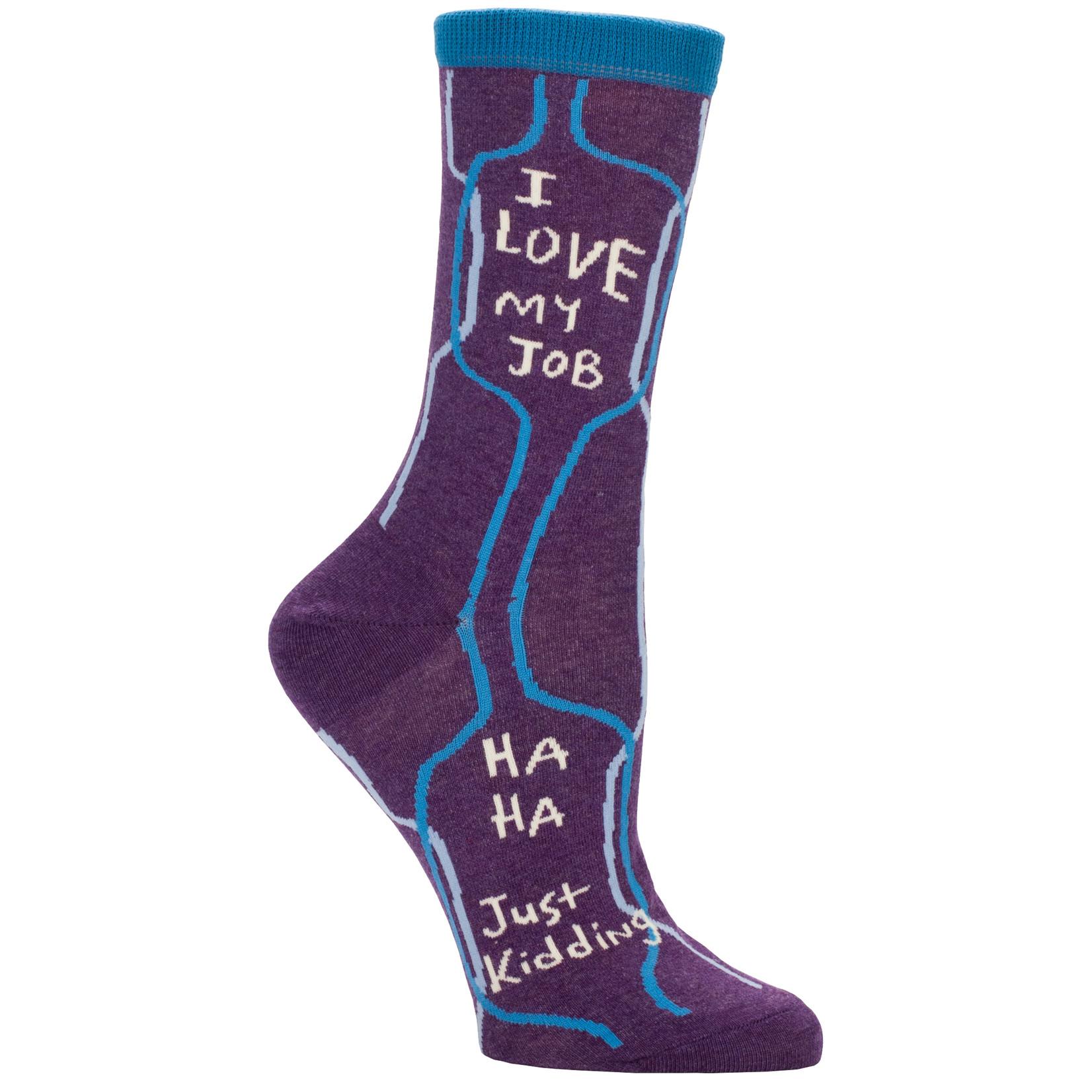 Blue Q I Love My Job W - Crew Socks