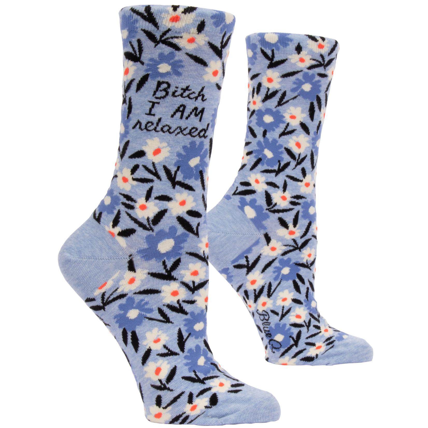 Blue Q B*tch I Am Relaxed W - Crew Socks