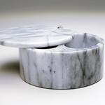RSVP International White Marble Swivel Salt Box