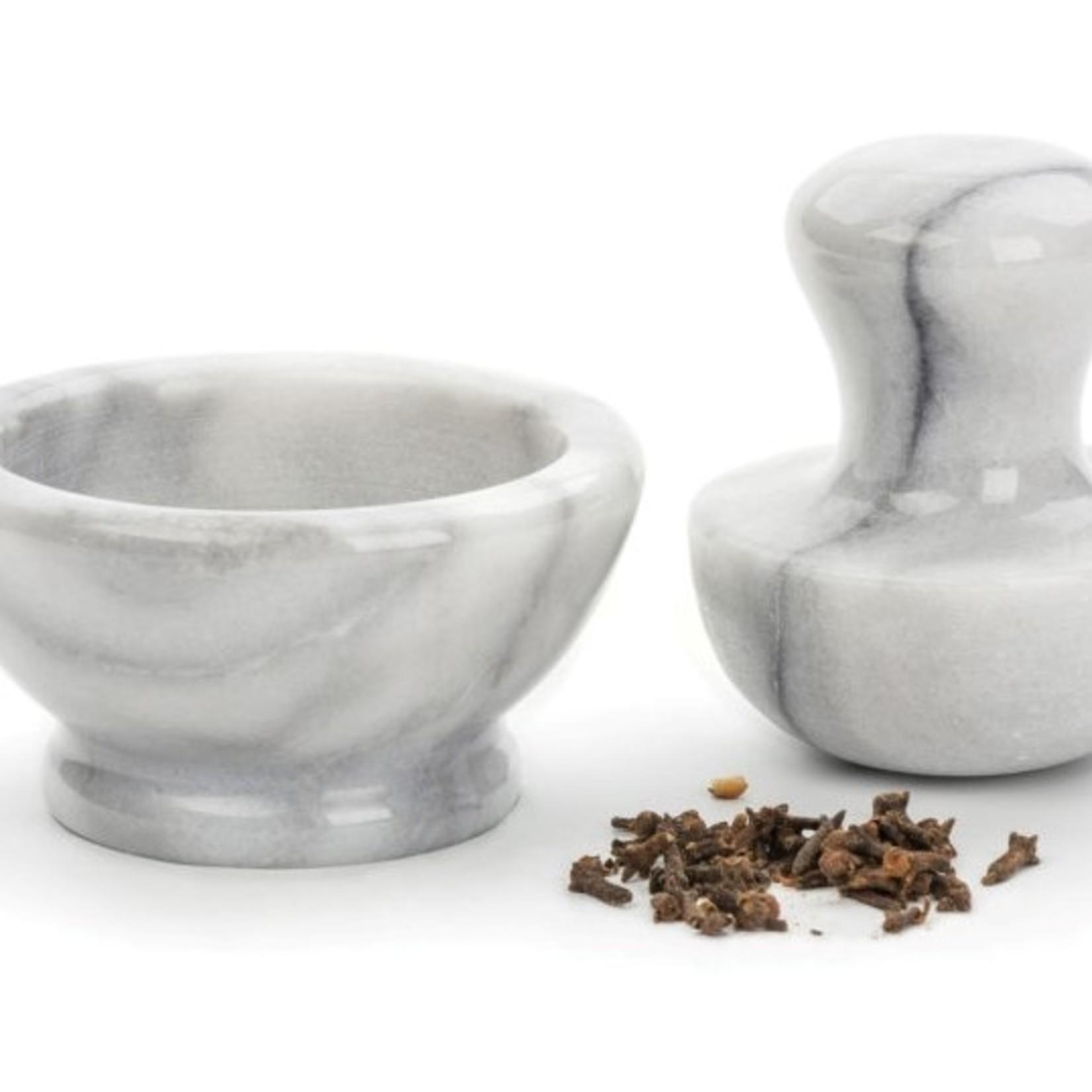 RSVP International White Marble Mortar & Pestle Grinder