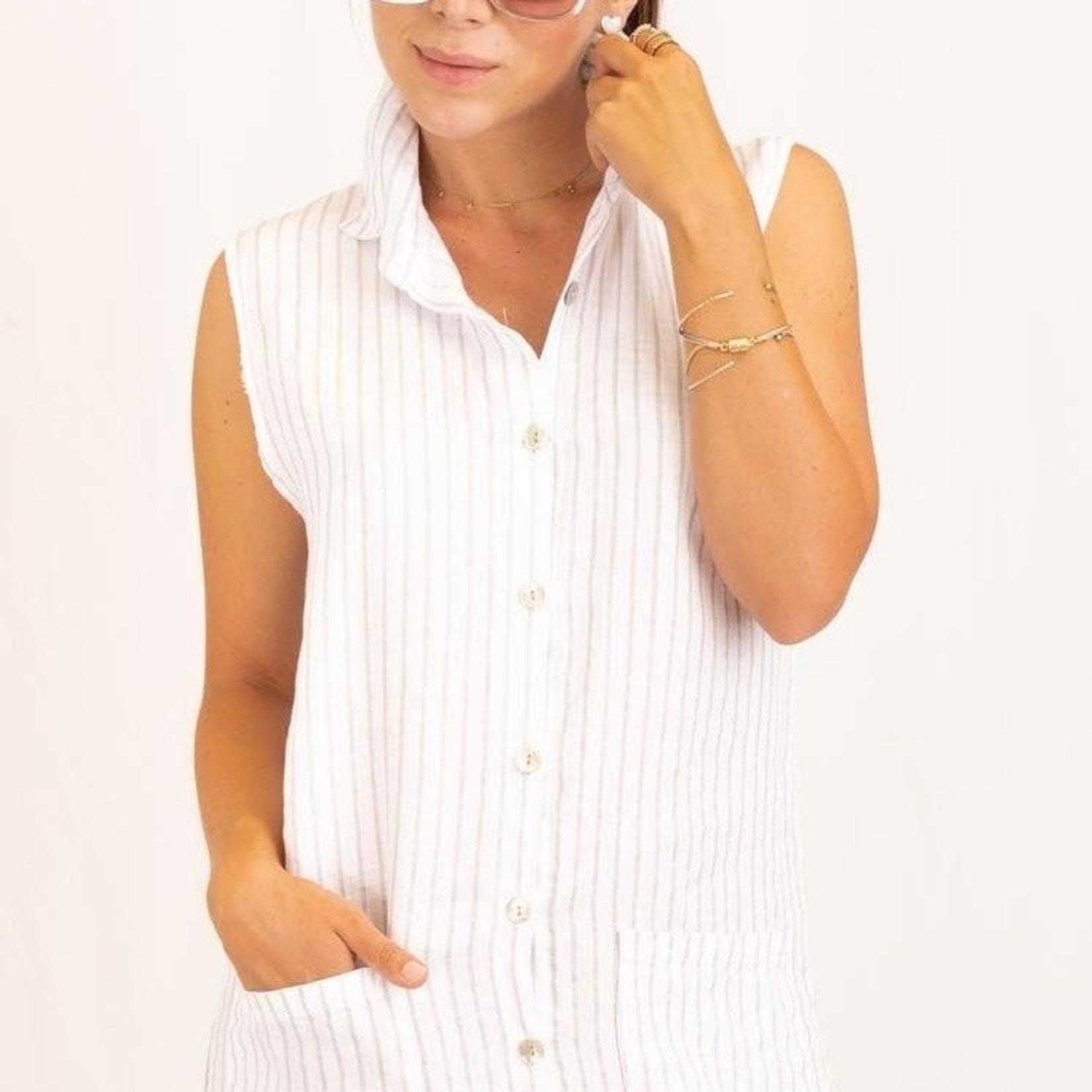Me & Gee Striped Sleeveless Shirt Dress
