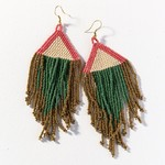 Ink + Alloy Terracotta Ivory Emerald Gold Fringe Earrings