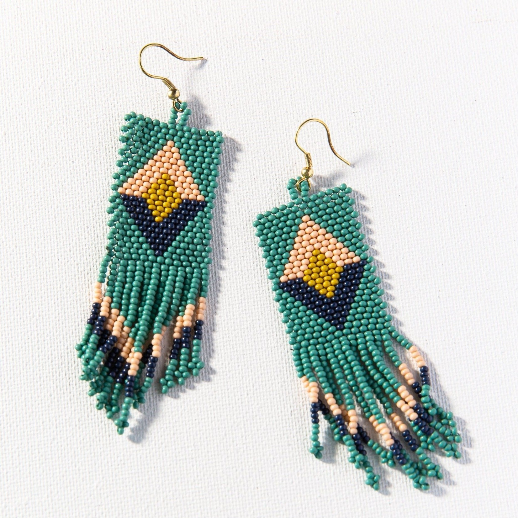 Ink + Alloy Teal Pink Citron Navy Diamond Seed Bead Earrings