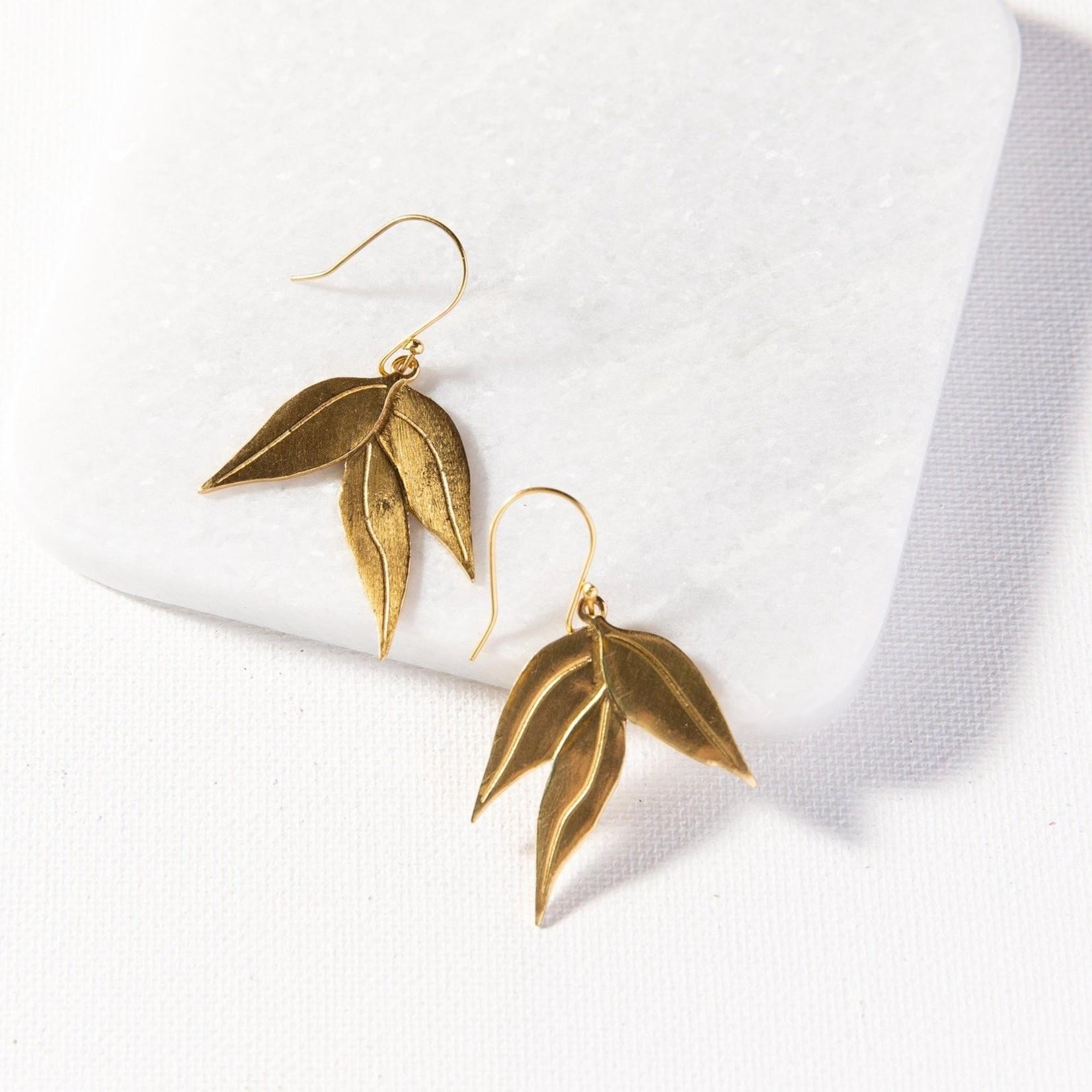 Ink + Alloy Small Eucalyptus Dangle Earrings