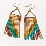 Ink + Alloy Rust Turquoise Pink Diagonal Stripe Triangle Earrings