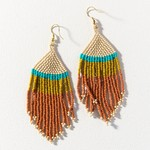 Ink + Alloy Rust Ivory Citron with Turquoise Stripe Fringe Earrings