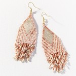Ink + Alloy Rose Gold Ivory Stripe Luxe Fringe Earrings