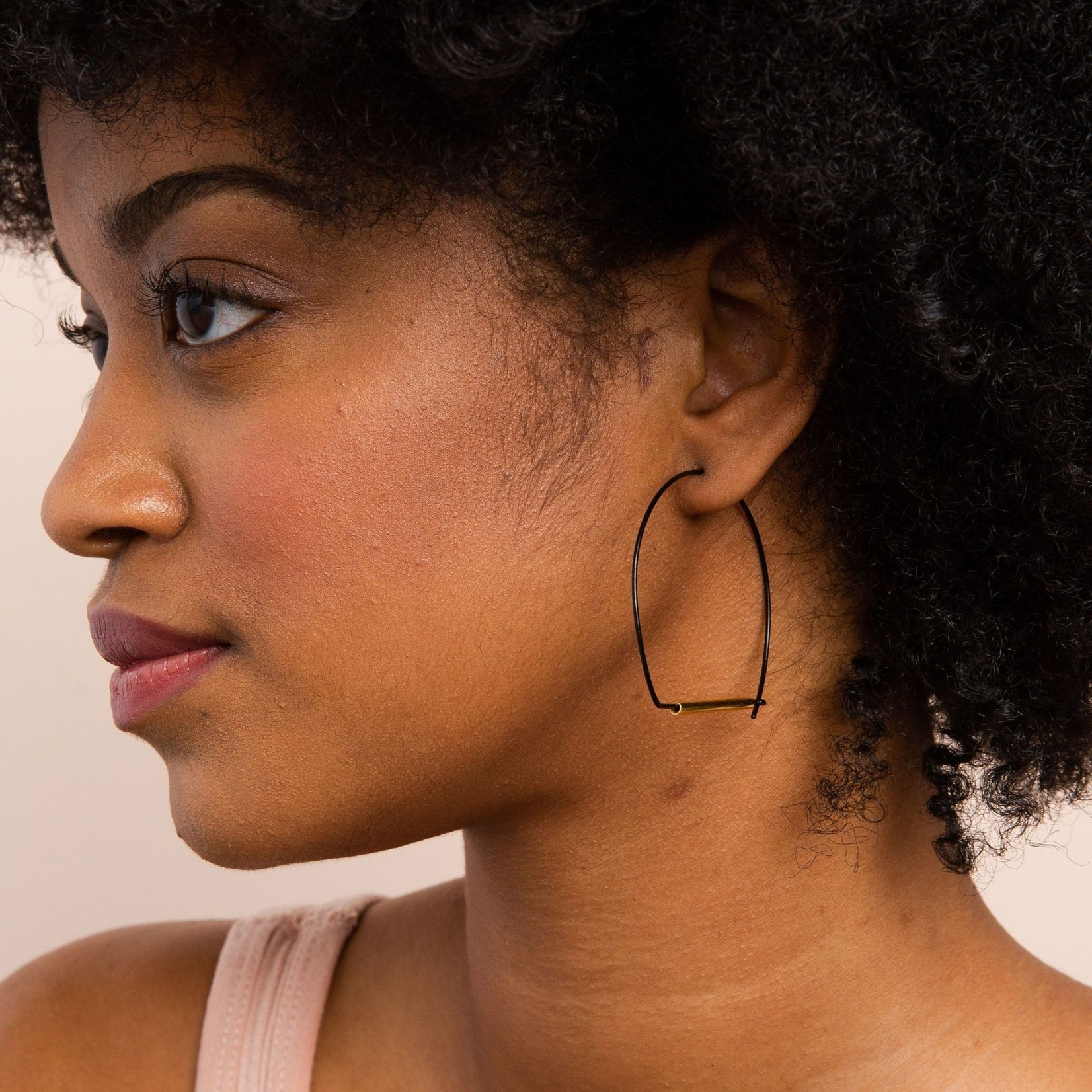Ink + Alloy Black and Brass Large Wire Hoop Earrings