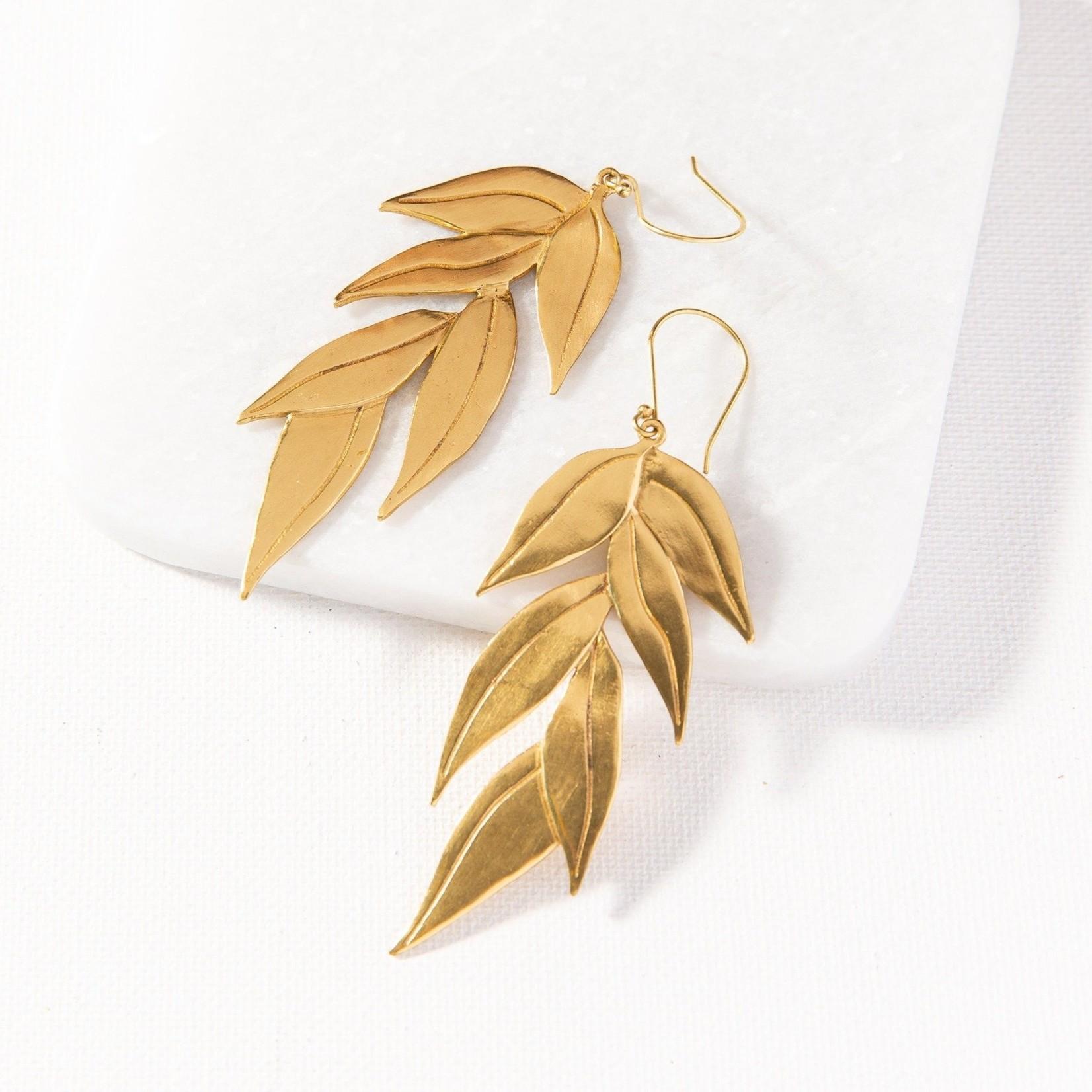 Ink + Alloy Brass Eucalyptus Dangle Earrings