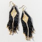 Ink + Alloy Gold Black Ivory Diamond Luxe Stripe Earrings