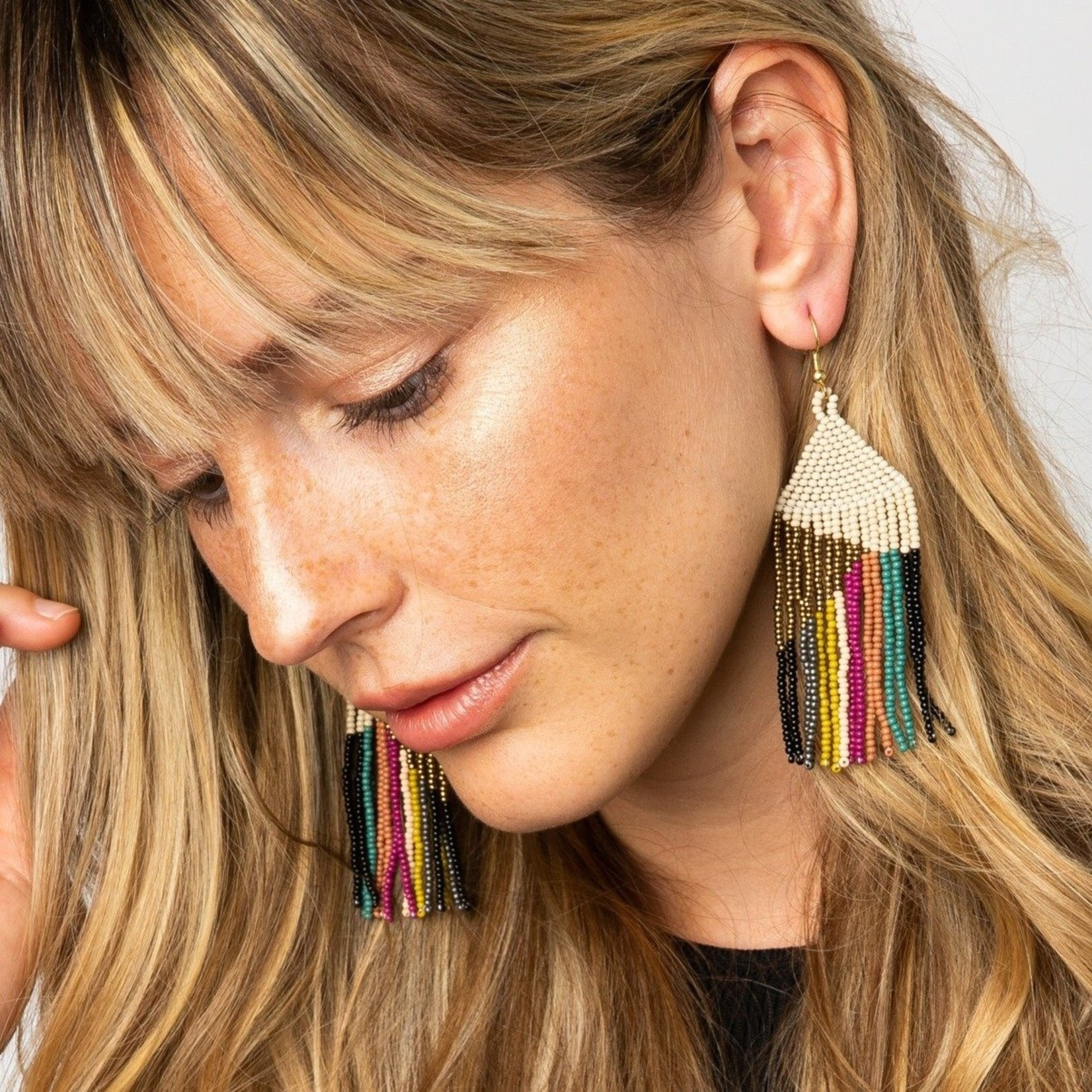 Ink + Alloy Gold Ivory with Muted Stripe Fringe Earrings